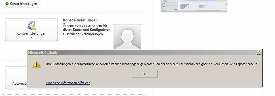 Können ihre automatische nicht einstellungen für antworten Outlook: Abwesenheitsnotiz